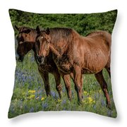 Friends In The Bluebonnets Throw Pillow