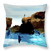 Friends With Dolphins In Colour Throw Pillow