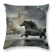 Friesian Fantasy Revisited Throw Pillow