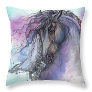 Friesian Horse 2015 12 24 Throw Pillow