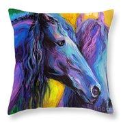 Friesian Horses Painting Throw Pillow