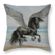 Friesian Pegasus Throw Pillow