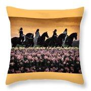Friesians At Sunset Throw Pillow