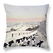 Friesians In Winter Throw Pillow