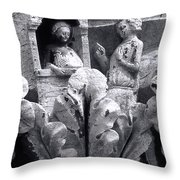 Frieze Work In Black And White  Throw Pillow