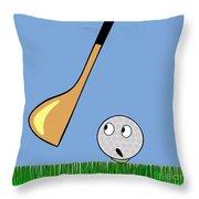 Frightened Golf Ball Throw Pillow