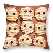 Frightened Mummy Baked Biscuits Throw Pillow
