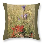 Fringed Gentians Throw Pillow