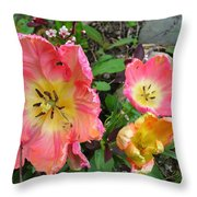Fringed Tulips Throw Pillow