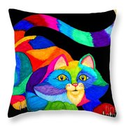Frisky Cat Throw Pillow