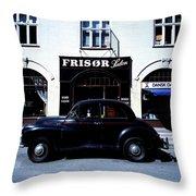 Frisor And Black Car  Copenhagen Denmark Throw Pillow