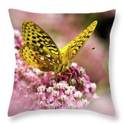 Fritillary Butterfly On Flowers Throw Pillow