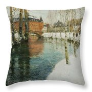 Frits Thaulow    A Chateau In Normandy Throw Pillow