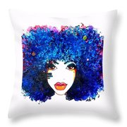 Fro Blues Throw Pillow