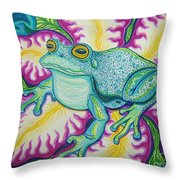 Frog And Flower Throw Pillow