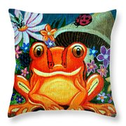 Frog And Flowers Throw Pillow