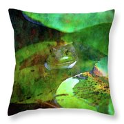 Frog And Lily Pad 3076 Idp_2 Throw Pillow