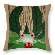 Frog And Silhouette Throw Pillow