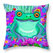 Frog And Spring Flowers Throw Pillow