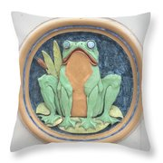 Frog Ceramic Plaque Throw Pillow