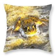 Frog In Deep Water Throw Pillow