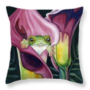 Frog In Pink Calla Lily Throw Pillow by Lyse Anthony