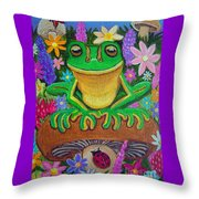 Frog On Mushroom Throw Pillow