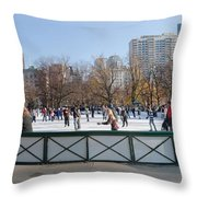 Frog Pond Skating Rink Boston Common Throw Pillow
