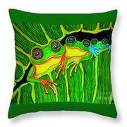Froggie Trio Throw Pillow