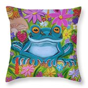 Frogs And Flowers Throw Pillow