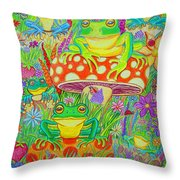Frogs And Mushrooms Throw Pillow