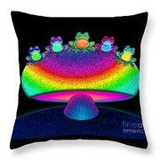 Frogs And Rainbow Mushroom Throw Pillow