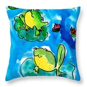 Frogs Throw Pillow by Elyse Bobczynski Age Five