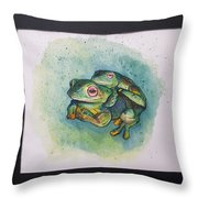 Frogs Of Borneo L Throw Pillow
