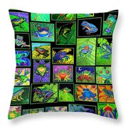 Frogs Poster Throw Pillow
