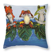 Frogs Without Sense Throw Pillow