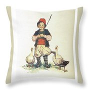 Frolic For Fun Boy And Geese Throw Pillow
