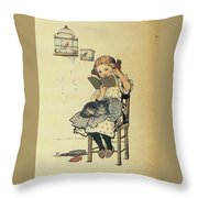 Frolic For Fun Girl And Bird Throw Pillow