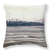 From Cramond To Forth Bridge, Forth Road Bridge, And Forth Crossing Throw Pillow