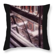 From My Window - Braving The Snow Throw Pillow