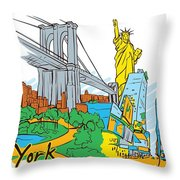 From Old To New York Throw Pillow