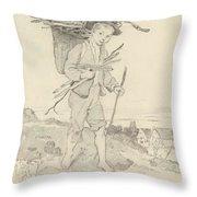 From Rudolf Hirth Frenes 1846 Grafentonna   Miltenberg 1916 Young Reisigsammlerinnen Throw Pillow