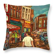 From Schwartz's To Warshaws To The  Main Steakhouse Montreal's Famous Landmarks By Carole Spandau  Throw Pillow by Carole Spandau