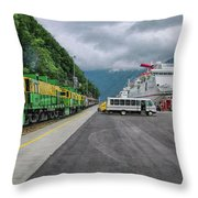 From Ship To Train Throw Pillow