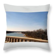 From The Bridge The Red River Throw Pillow