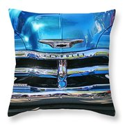 Front End Blue And Chrome Chevy Pick Up Throw Pillow