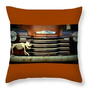 Front End Grille Of 1953 Chevrolet Advantage Design Truck With Dog Skeleton Throw Pillow