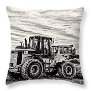 Front End Loader Black And White Throw Pillow