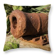 Front End Of An Old Rusty Cannon Lying On The Floor Throw Pillow