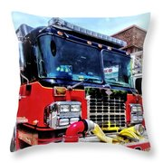 Front Of Fire Truck With Hose Throw Pillow